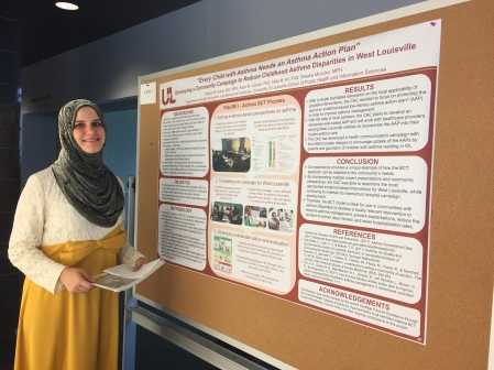 Rishtya Kakar, MD, MPH presenting a poster on a campaign to reduce childhood asthma in West Louisville